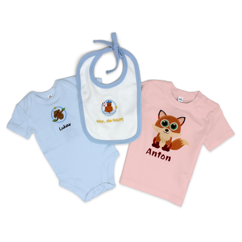 Geschenk Neu Neugeboren Lätzchen mit Perdchen und Namen  Geburt